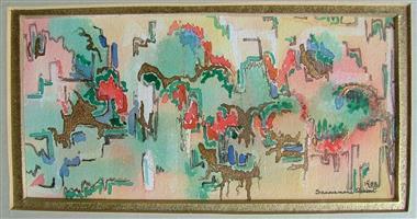 Watercolour abstract India, signed Sanniemarie Slabbert 1988