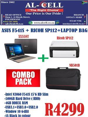 On Special Asus F541S Laptop + Ricoh SP112 Printer + Laptop Bag