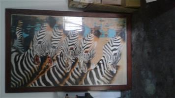 Rhodesian teak skidery raam met glas.