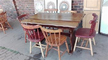 Rectangular table + 6 Oregon Pine chairs