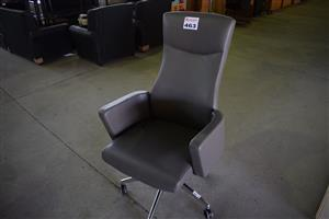 Grey leather high back office chair