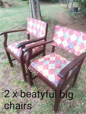2 Colored wooden chairs for sale
