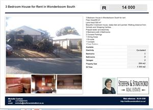 3 Bedroom House in Wonderboom South for rent