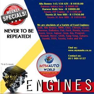 Complete Second hand used engines,Alfa Romeo, Daewoo, Toyota, Alberton, Alrode, Germiston, Vereeniging, Van de Bijl, Soweto, Johannesburg, Gauteng, South Rand