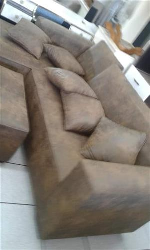 Suede L shaped corner couch