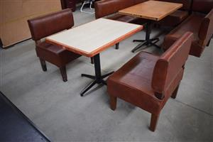 2 1 seater red leather benches with wooden table