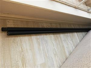 Black curtain rods 4.6 metres, with brackets and joiner