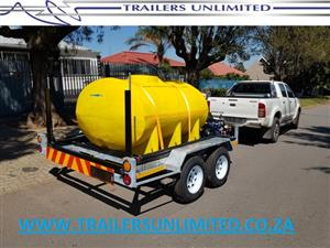 DOUBLE AXLE WATER TANK TRAILERS. 2000L HORIZONTAL WATER TANK.