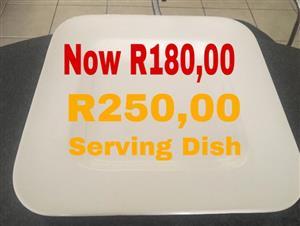 Big white square serving dish