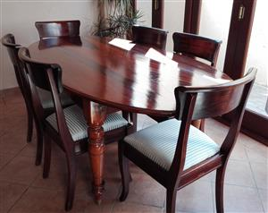 Antique Solid Wood oval table & six wooden chairs
