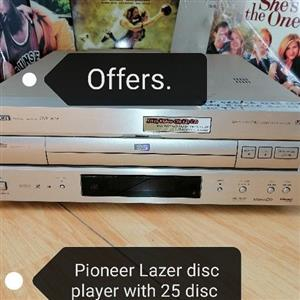 Lazer disc and dvd player with 25 disc.