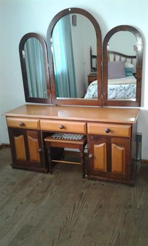Imbuia Headboard, side tables, dressing table with chair for sale