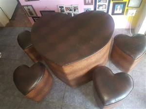 Brown heart shaped stools