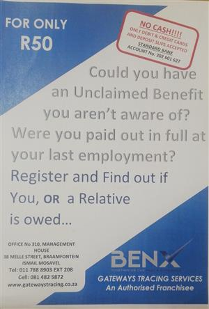 CHECK IF YOU OR A RELATIVE HAVE UNCLAIMED FUND FROM PREVIOUS EMPLOYERS DUE TO YOU