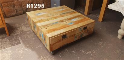 Rustic Coffee Table with Drawers on Wheels (980x980x400)
