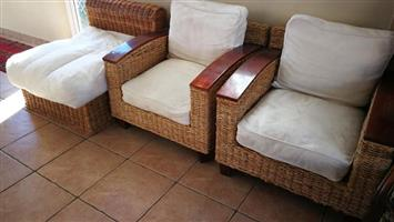 2 x solid cane chairs with wood trim for sale
