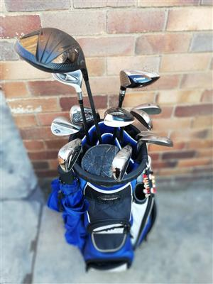Taylor made golf set and click gear cart with assesories