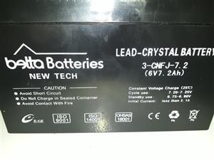 New Tech 6V 7.2Ah Lead Crystal Battery