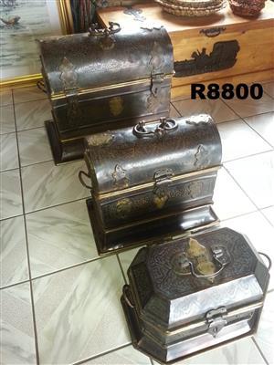 3 x Antique Solid Brass Trunks (740x445x560)