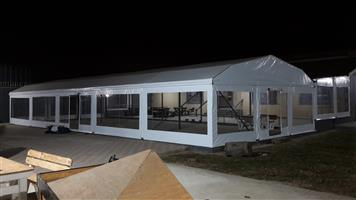 Frame tents 9x18m clear & solid sides
