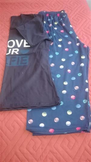 Blue polka dot pajama set