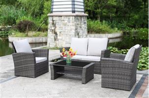 Hazlo Monterrei 4 Piece Outdoor Wicker Patio Living Sofa Set