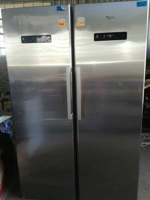 Silver Whirlpool double door fridge