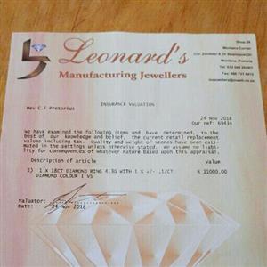 1 x 18 CT Diamond ring 4 ,3 G with 1 x +/-  ,12 CT Diamond colour I VS