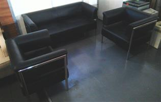 3 Piece leather black couch