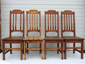 Oregon wood chairs  x 4
