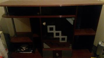 wall unit; oak/pine desk; dinning room table,  double with a single bunk bed