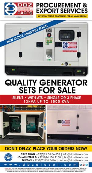 DBZ Generator sets in stock. 13Kva to 1500Kva available - Silent, ATS, single or 3 Phase