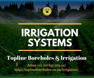Sprinkler systems installed by Topline Boreholes & Irrigation, Gauteng.