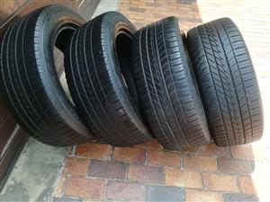 Set Good Used 255/55/20 Goodyear Eagle F1 4x4 SUV Tyres fits Range Rover
