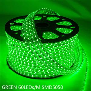 LED Strip Light / Rope Light: Green Colour 100metres Roll 220Volts.