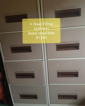 Steel Filing Cabinets x 2