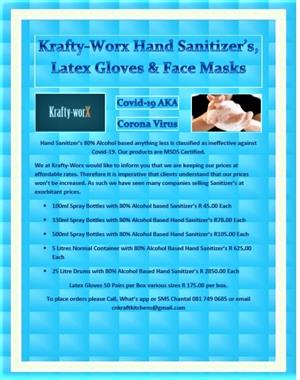 Hand sanitizers, Latex gloves and masks