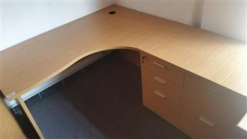 Oak L-shape desk with cabinet (5 units available)