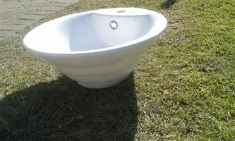 Large white bathroom basin