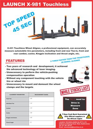 Wheel Alignment Trade in Deal - Launch Touchless Aligner X-981