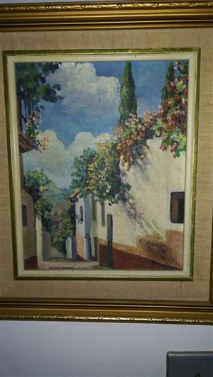 Italian flower house framed painting for sale
