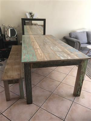 Outdoor patio dining table and bench -Urgent Sale