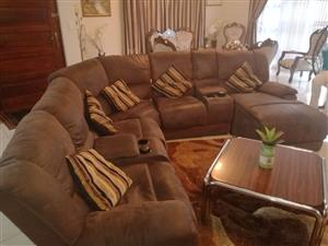 7 Seater Leather Suede Lounge Suite for Sale, A Bargain at R5500. Currently retails at R22,000