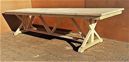 Patio table Chunky Cottage series 3500 with trestle style X base - Raw