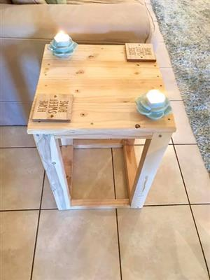 Raw wood side table for sale