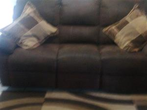3 Seater brown suede couch