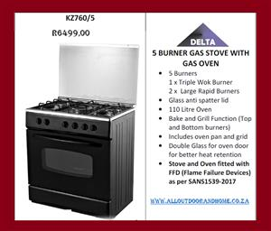 DELTA 5 BURNER GAS STOVES OR 5 BURNER GAS STOVES with CABINET -BEAT THE PRICE INCREASE
