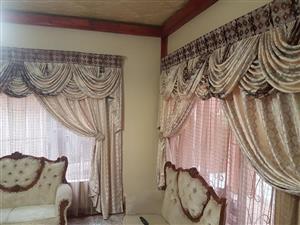 Beige silk curtains for sale