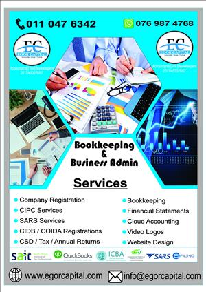 Company Registration, E filing Tax Services, Bee, Share Certificate, Tender, CSD, CIDB, COIDA, Bookkeeping, Accounting