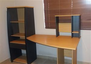 Computer desk with CD cabinet and bookshelf with glass door